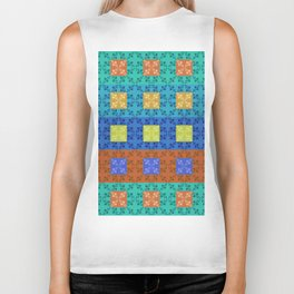 Simple retro Fresh Lines and Squares Biker Tank