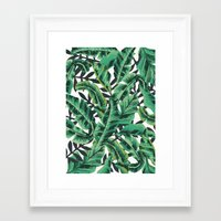 gray Framed Art Prints featuring Tropical Glam Banana Leaf Print by Nikki