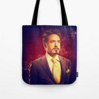 tony stark Tote Bags featuring Tony Stark - Iron Man by KanaHyde