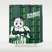 trooper Shower Curtains featuring Panda trooper by Tony Vazquez