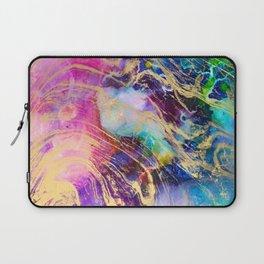 Modern gold marble on pastel pink purple watercolor nebula paint Laptop Sleeve