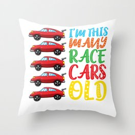 I'm This Many Race Cars Old 5 Yr Fifth Birthday Boys Throw Pillow