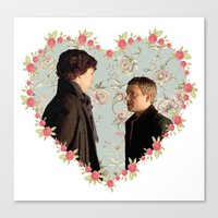johnlock Canvas Prints featuring Hearted Johnlock by thescudders