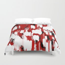 Black Red and White abstract 2 Duvet Cover