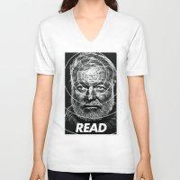 hemingway V-neck T-shirts featuring Hemingway  by Ugly Borealis