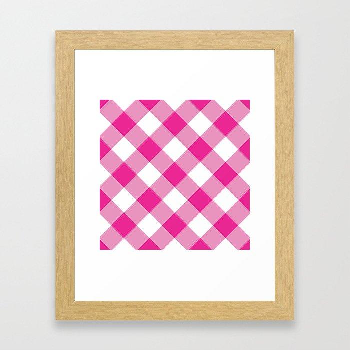 Gingham - Pink Framed Art Print