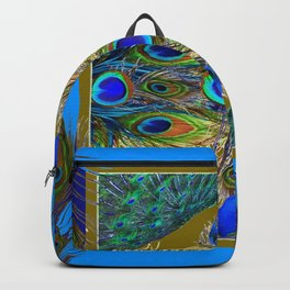 BLUE-PURPLE PEACOCK FEATHER PATTERNS Backpack