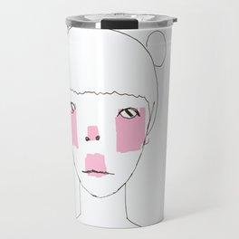 Line Drawing of Girl with Bun  Travel Mug