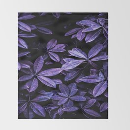 Stillness, Botanical Plants Leaves Throw Blanket