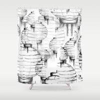 lantern Shower Curtains featuring Lantern - white by Emma Stein