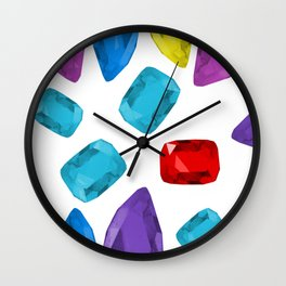 Ruby One Crystal - Precious Stones Abstraction Wall Clock