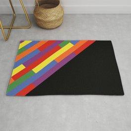 Diagonal rainbow stripes Rug