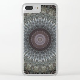 Mandala in grey and brown tones Clear iPhone Case