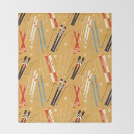 Bright Retro Skii Pattern Throw Blanket