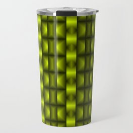 Fashionable large floral from small yellow intersecting squares in stripes dark cage. Travel Mug