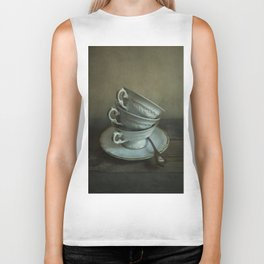 White teacups set Biker Tank