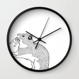 Mother Hamster Carrying Her Baby Wall Clock