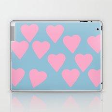 Hearts Pink on Blue Laptop & iPad Skin