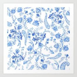 Flowers and Paisleys Art Print