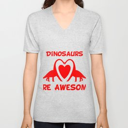 Dinosaurs Are Awesome Red Unisex V-Neck