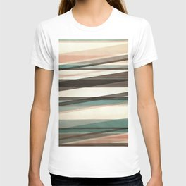 Semi Transparent Layers In Peach Brown And Green T-shirt