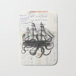 Octopus Kraken Attacking Ship on Old Postcards Bath Mat