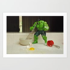 Green Hulk Don't Like Cooking Art Print