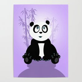 Panda Girl - Purple Poster