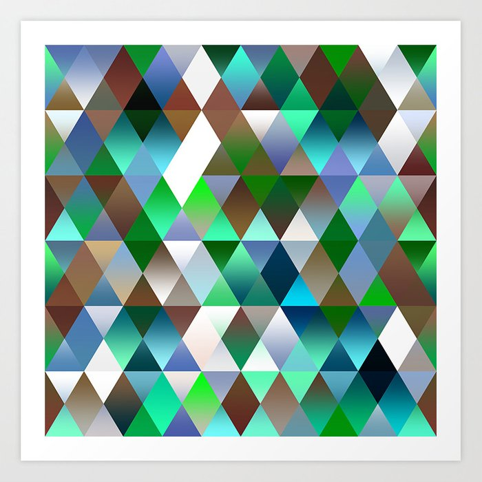 Bright Colorful Funky Retro Triangles Polygon Mosaic Pattern Art Print by  diversestuff