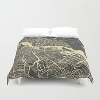 amsterdam Duvet Covers featuring Amsterdam by Map Map Maps