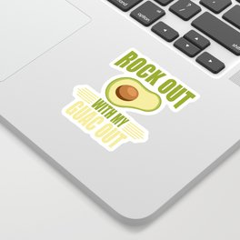 This Rock Out With My Guac Out Art Inspired Design Is A Perfect Gift For Anyone Who Loves Guacamole Sticker