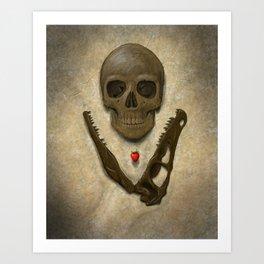 Impermanence - Velociraptor and Human Skull Art Print