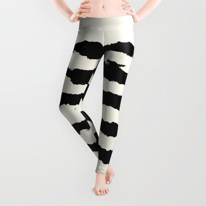 Tribal Stripes Black on Cream Leggings