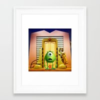 monster inc Framed Art Prints featuring  Monster Inc Mike Wazowski by Thorin