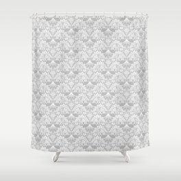 Stegosaurus Lace - White / Silver Shower Curtain