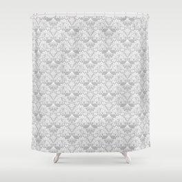 Stegosaurus Lace - White / Silver Shower Curtain