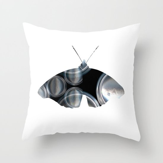 Metal Can Butterfly Collage Throw Pillow