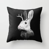 jackalope Throw Pillows featuring Jackalope by Adam Dunt