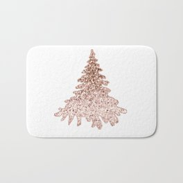 Sparkling christmas tree rose gold ombre Bath Mat