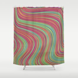 OLEANDER trails of fuschia red grass green abstract Shower Curtain
