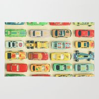 orange Area & Throw Rugs featuring Car Park by Cassia Beck