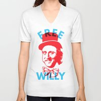 willy wonka V-neck T-shirts featuring Free Willy (Wonka) by Tabner's