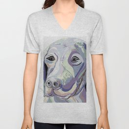Weimaraner Denim Colors Unisex V-Neck