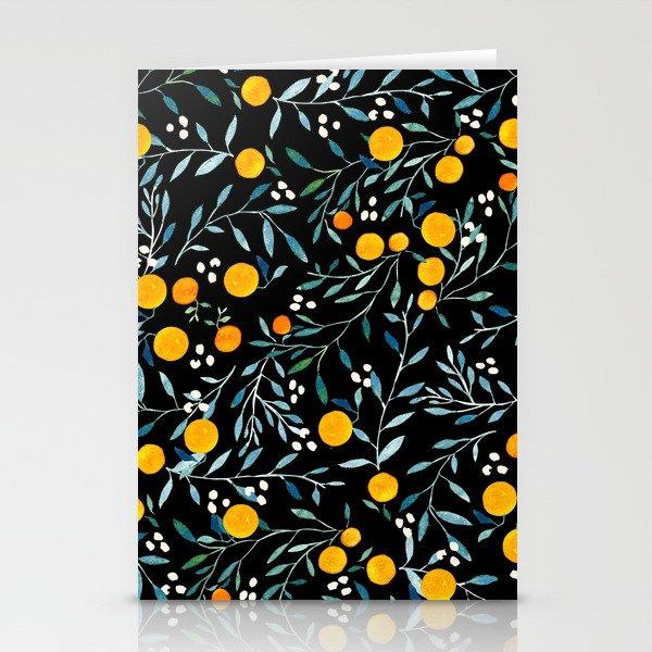 Oranges Black Stationery Cards