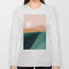 pink, green, gold moon watercolor mountains Long Sleeve T-shirt