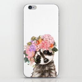 Baby Raccoon with Flowers Crown iPhone Skin