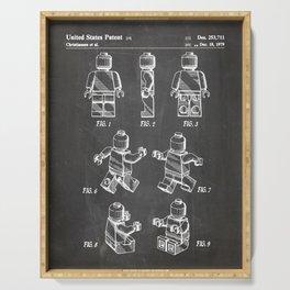 Legos Patent - Block Man Art - Black Chalkboard Serving Tray