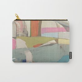 tidal pool - abstract painting in modern fresh colors turquoise, cream, white, orange and pink by Carry-All Pouch