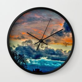 Sunset and Storm Wall Clock