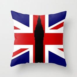 Union Flag Big Ben Throw Pillow